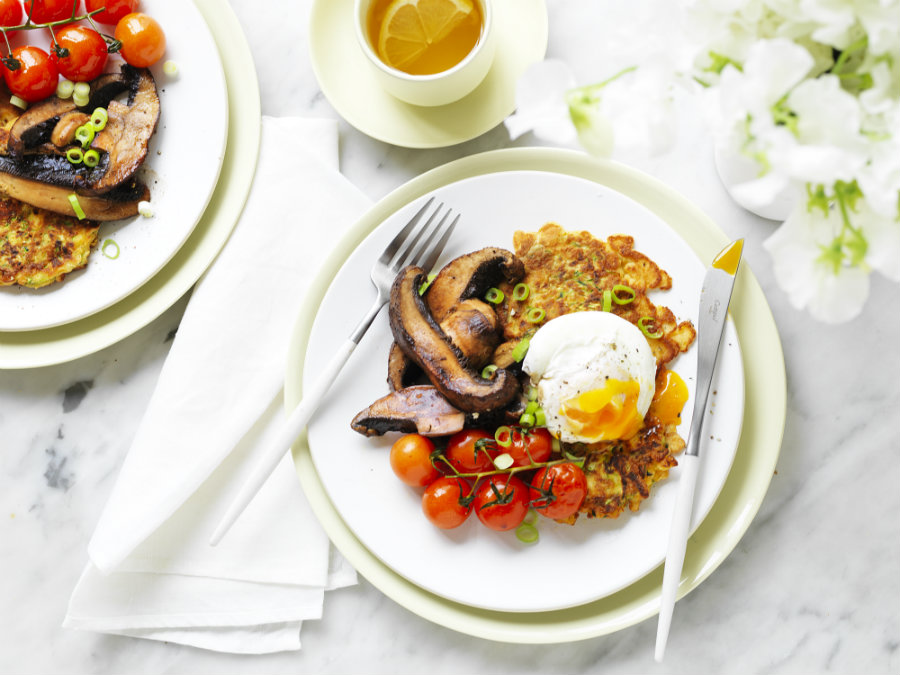 Zucchini fritters with sauteed mushrooms & poached egg - 900 wide
